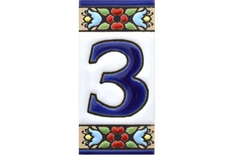 """(NUMBER THREE """"3"""") - House numbers. Handpainted polichrome ceramic tiles. letters and numbers handpainted using dry rope technique perfect to create signs,addresses and names. Design FLORES MINI 7.3cm x 3.5cm (NUMBER 3)"""