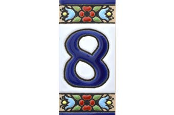 """(NUMBER EIGHT """"8"""") - House numbers. Handpainted polichrome ceramic tiles. letters and numbers handpainted using dry rope technique perfect to create signs,addresses and names. Design FLORES MINI 7.3cm x 3.5cm (NUMBER 8)"""