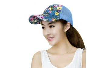 (Blue) - Women Ladies Fashion Baseball Caps Sun Protection Large Visor Mesh Sun Caps Hats Headwear Breathable Quickly Dry Outdoor Cycling Camping Fishing Travel Tennis Golf Beach Hats Caps Topee UV50+