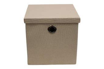JVL Collapsible Lidded Fabric Storage Box with Chrome Handles, Cream, Multi/colour