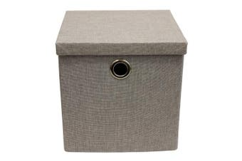 JVL Collapsible Lidded Fabric Storage Box with Chrome Handles, Light Grey, Multi/colour