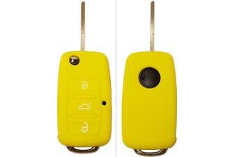 (3-Button-Keybit, Orange) - CK + VW Car Key Case Key Cover Case Silicone for Polo Golf Passat Sharan Touran Caddy