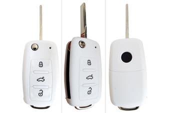 (3-Button-Keybit-B, Weiß) - CK + VW Car Key Case Key Cover Case Silicone for Polo Golf Passat Sharan Touran Caddy