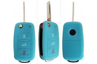 (3-Button-Keybit-B, Leuchtend blau) - CK + VW Car Key Case Key Cover Case Silicone for Polo Golf Passat Sharan Touran Caddy