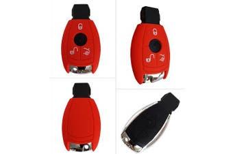 (3-Button-Keyless, red) - CK Mercedes Car Key Case/Key Cover Silicone for a, b, c, E, G, V, S Class Amg CLA CLS