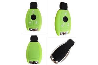 (3-Button-Keyless, Leuchtend grün) - CK Mercedes Car Key Case/Key Cover Silicone for a, b, c, E, G, V, S Class Amg CLA CLS