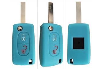 (2-Button-Keybit, Leuchtend blau) - CK + Peugeot Car Key Case Key Cover Case Silicone for 207 307 308 5008