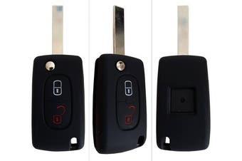(2-Button-Keybit, black) - CK + Peugeot Car Key Case Key Cover Case Silicone for 207 307 308 5008