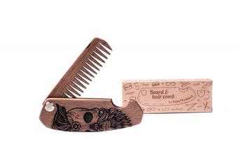 Wooden Folding Beard Comb by Enjoy The Wood - moustache comb - Anti-Static Wooden Folding Comb for Men with Sugar skull. Great with beard Balm. Grooming kit Pocket