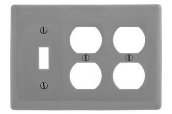 (Gray) - Bryant Electric NP182GY 3-Gang/2-Duplex/1-Toggle Nylon Wallplate, Standard, Grey