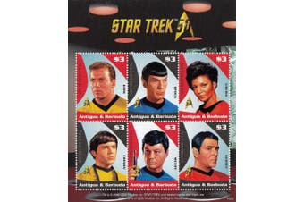 "Star Trek 50th Anniversary Spock, Captain Kirk, Scotty, Uhura, Chekov, Doctor Leonard ""Bones"" McCoy - Collectible Postage Stamps"