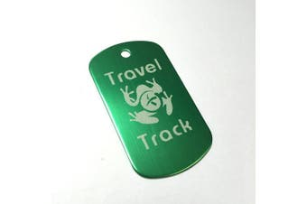 (Green) - AllCachedUp Trackable Tag for Geocaching - Travel Track Tag - trackable like a Travel Bug