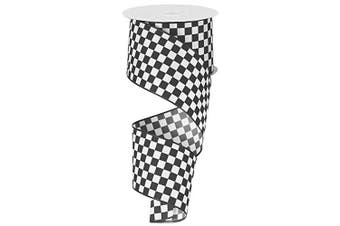 Black and White Cheque Ribbon, 6.4cm Wide x 10 Yards, Wired Edge