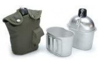 (Olive) - US Army Style Outdoor aluminium water bottle with drinking cup and cover 1 litre water bottle canteen in different colours
