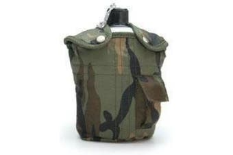 (Woodland) - US Army Style Outdoor aluminium water bottle with drinking cup and cover 1 litre water bottle canteen in different colours