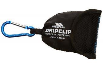 (One size, Blue) - Trespass Dripclip Microfibre Mini Pocket Travel Gym Towel Keyring with Mesh Bag
