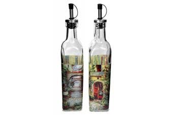 Set 500ml Glass French Paris Street Scene Cruet Bottles with Stainless Steel Tops