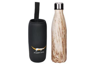 (Texture Pattern - Light Wood) - A Lazy Dog Vacuum Insulated Water Bottle 500ml Double Walled Stainless Steel Cola Shape Water Bottle Outdoor Sports