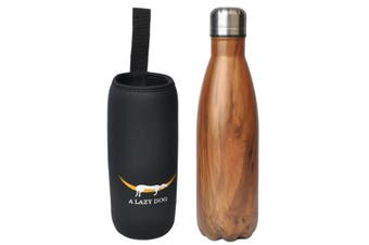 (Texture Pattern -Dark Wood) - A Lazy Dog Vacuum Insulated Water Bottle 500ml Double Walled Stainless Steel Cola Shape Water Bottle Outdoor Sports
