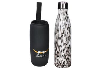 (Texture Pattern -Leopard) - A Lazy Dog Vacuum Insulated Water Bottle 500ml Double Walled Stainless Steel Cola Shape Water Bottle Outdoor Sports
