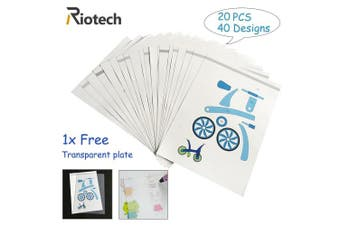 Riotech 2017 New Design 3D Drawing Mould 3D Drawing books 3D Pen Stencils-Real Paper Stencils for 3D Pen 3D Printing pen for Children Gift Toy (20 Different Paper Patterns,40 Different Designs)