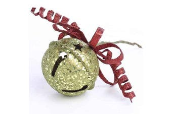 Festive Glittery Green Jingle Bell and Wire Bell Ornamental Pick for Holiday Decorating and Embellishing