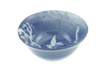 Japanese 15cm Tayo Blue Wave/cranes Bowl