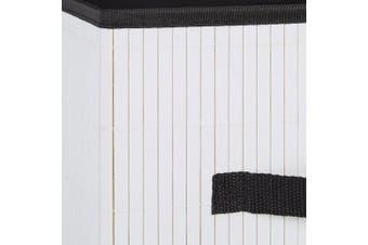 (White) - Relaxdays Folding Storage Box, Bamboo-Look, Square-Shaped, with handle, Hxwxd: 28.5 x 28.5 x 28.5 cm, Shelf Box, White