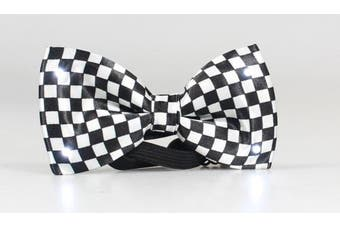 Black and White Chequered Bow Tie with White LED Lights by Blinkee