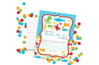 Amanda Creation Under The Sea Birthday Party Fill in Invitations Set of 20 Including White Envelopes