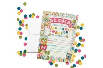 Amanda Creation Tropical Luau Birthday Party Fill in Invitations Set of 20 with envelopes Perfect for Summer and Hawaiian Themed Parties