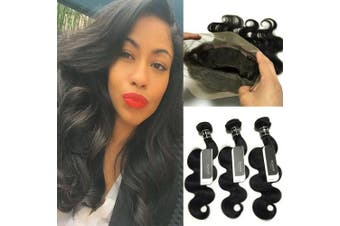 """(10""""12""""14""""+10"""", 360 lace frontal with bundles) - BQ 360 Lace Frontal with Bundles- Unprocessed 8A Body Wave Brazilian Virgin Human Hair 3 Bundles with 360 Lace Frontal Closure Pre Plucked Natural Hairline (10""""12""""14""""+10"""")"""