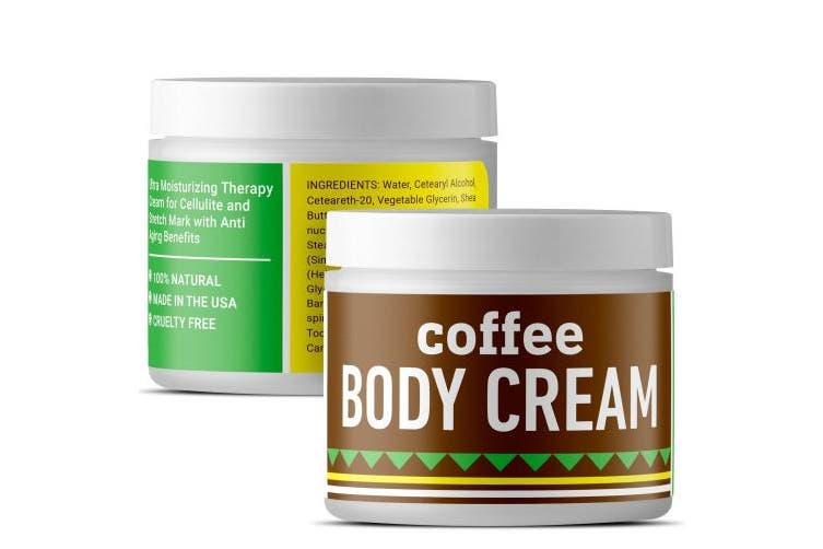 Coffee Body Lotion For Cellulite Slimming Firming Skin Tightening Anti-Ageing Natural Skin Care Cream With Caffeine Shea Butter Coconut Argan Oil Body Sculpting Dry Skin Moisturiser For Smooth Skin