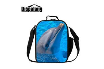 (Animal4) - Dispalang Dolphin Lunch Bags for Children Cute Animal Shark Print Small Insulated Cooler Bags for Girls Kids Lunch Box Bags