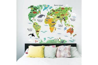 (DIY Size, Ocean and animal) - BIBITIME Murals World Map Sticker Wall Decal Country Cartoon Typical Animals Jungle Nursery Art Decor Decals Stickers for Kids Playroom Kindergarden,37.40 70cm