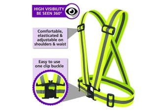 (Yellow Sash (Adult) + Bands) - BTR High Visibility Reflective Safety Vest, Sash, Bib, Gilet + High Viz Bands