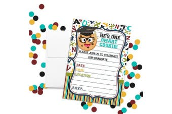He's a Smart Cookie Graduation Fill in Style Invitations, Set of 20 Including envelopes