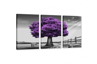 Hua Dao Art Canvas Prints Purple tree Framed Canvas Wall Art for Home Decor Perfect 3 Panels Wall Purple scenery Decorations For Living Room Bedroom Office Each Panel
