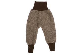 (0-2 months (Height 18-22) (EU 50/56), Brown Melange) - Cosilana, Baby Trousers, 100% Wool Fleece