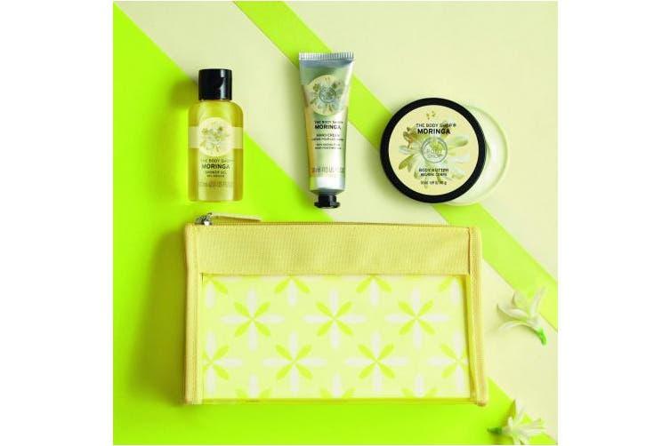 The Body Shop | Moringa Set | Moringa Beauty Bag | 50ml Body Butter, shower gel, hand cream
