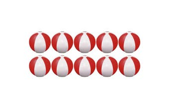 (Red) - eBuyGB Pack of 10 Inflatable Colour Ball - Beach Pool Game, Red, 22 cm/9""