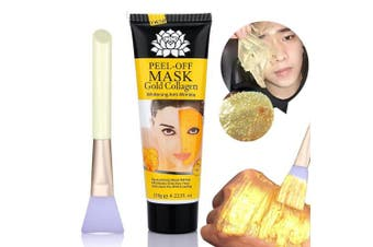 24k Gold Mask Collagen Peel off Face Mask Bysiter Blackhead Remover Facial Mask mud Whitening Anti Wrinkle Skin Care Face Lifting Firming Moisturise with Mask Brush 120ml (120g)