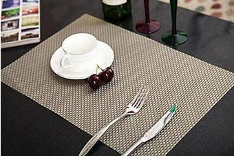 (Golden&Sliver, Set of 6) - Addfun®Table Mats(Set of 6),Premium Washable High Quaity Non-Slip Insulation PVC Place Mats for Dinner Table,Golden & Silver