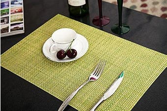 (Green, Set of 6) - Addfun®Table Mats(Set of 6),Premium Washable High Quaity Non-Slip Insulation PVC Place Mats for Dinner Table,Green