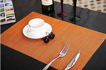 (Orange, Set of 4) - Addfun®Table Mats(Set of 4),Premium Washable High Quaity Non-Slip Insulation PVC Place Mats for Dinner Table,Orange
