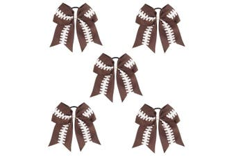 (5pcs Football Cheerleading Bow) - CN 18cm Baby Girls Large Cheer Bow Boutique Grosgrain Ribbon Football Hair Bow With Ponytail Holder Elastic Tie Hair Band For Cheerleader Girls Teens - 5pcs Football Cheer Bow