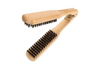 (Double Side Hair Brush) - CCbeauty Boar Bristles Clamp Hair Brush Straightener No Electric,Hair Detangler Brush Hair Styling Tool Double Side Hair Comb Straightener Clamp
