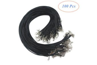 100Pcs Black Colour 18 Inch 2.0mm Waxed Cotton Necklace Cord Bulk with Lobster Clasp for Jewellery Making