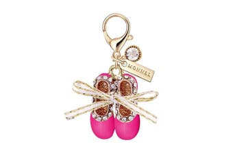 MC35 New Arrival Cute Crystal Hot Pink Ballet Shoe Lobster Charms Pendants with Pouch Bag (1 piece)