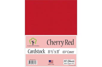 (22cm  x 28cm  - 50 Sheets) - Cherry Red Cardstock - 22cm x 28cm - 29kg Cover - 50 Sheets
